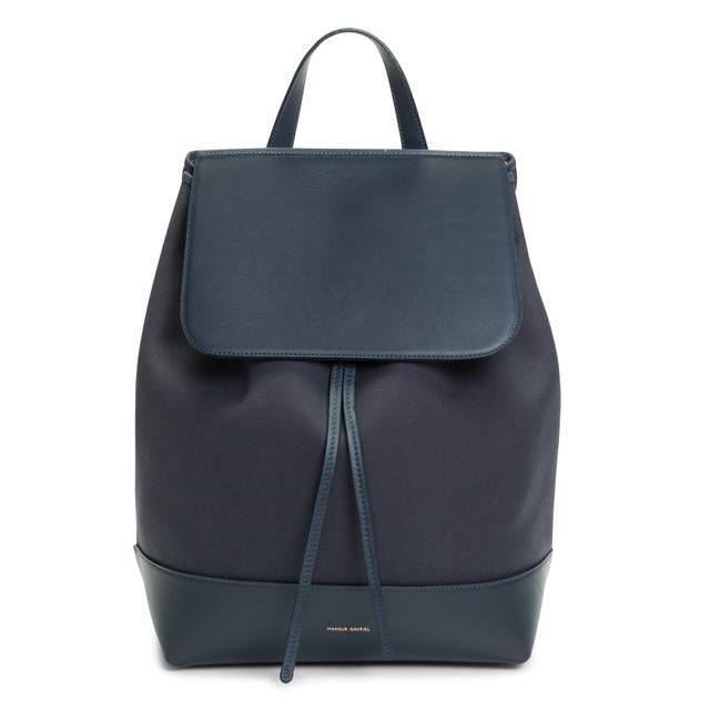Mansur Gavriel Canvas Backpack in Blu Creme