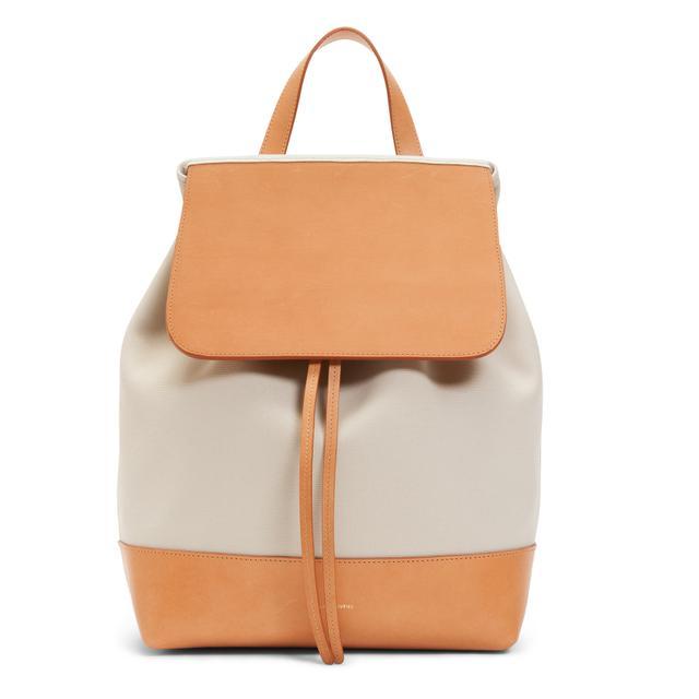 Mansur Gavriel Leather Backpack in Creme