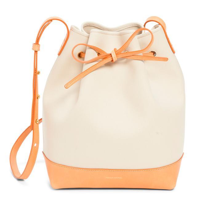Mansur Gavriel Canvas Bucket Bag in Creme