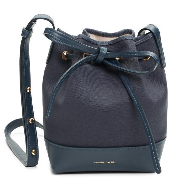 Mansur Gavriel Mini Canvas Bag in Blue Creme