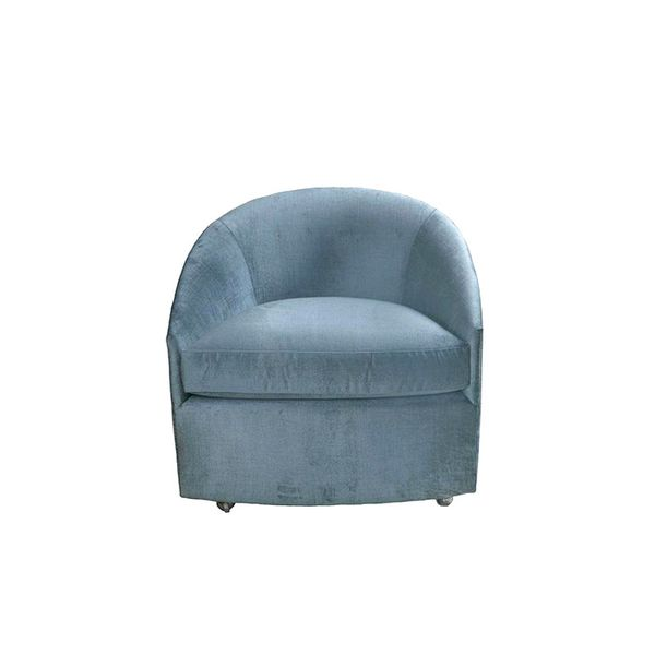 Chairish Milo Baughman Velvet Barrel Chair