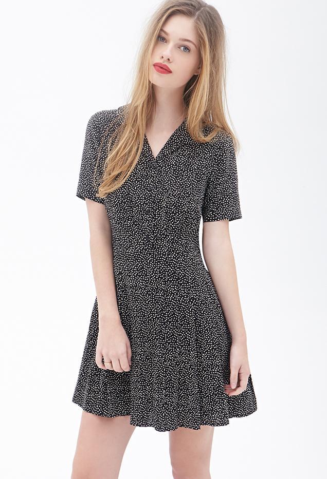 Forever 21 Polka Dot Pleated Dress