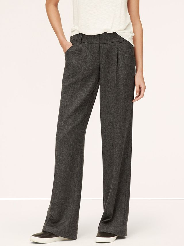 Loft Wool Twill Pleated Wide-Leg Trousers