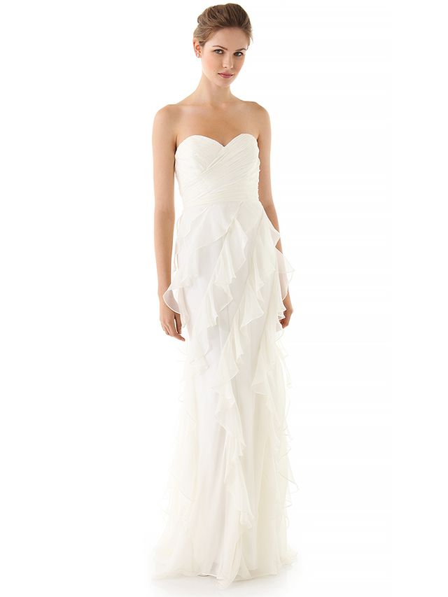 Badgley Mischka Collection Iridescent Strapless Ruffle Gown