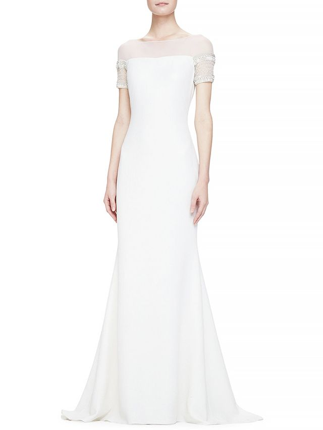 Badgley Mischka Collection Beaded Short-Sleeve Mermaid Gown
