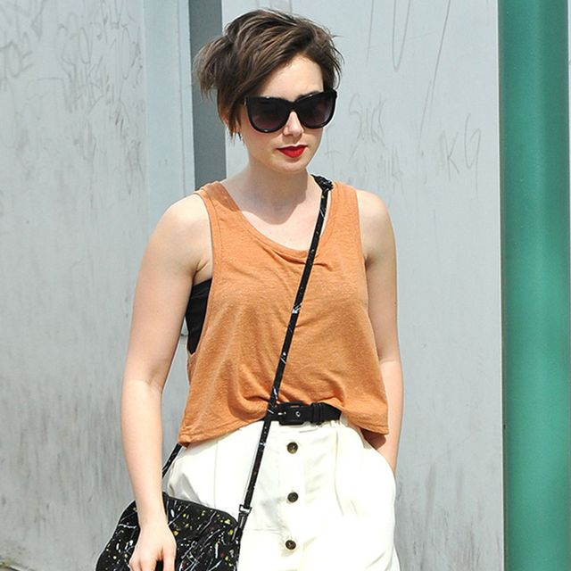 Lily Collins Nails the Button-Front Skirt Trend with Stylish Weekend Look