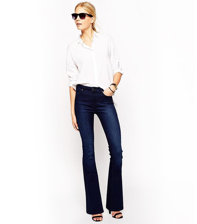 ASOS Bell Flare Jeans in Deep Blue