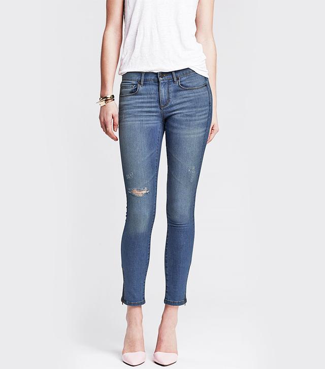 Banana Republic Indigo Skinny Ankle Zip Jeans