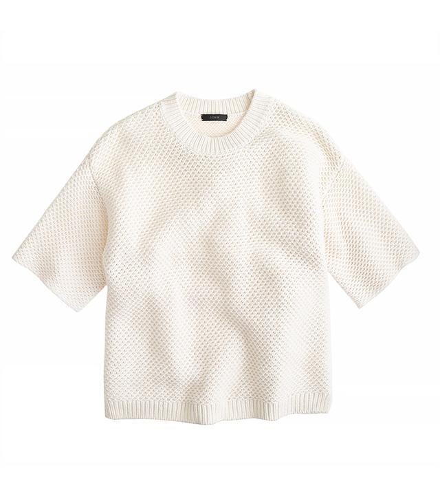 J.Crew Short-Sleeve Open-Stitch Sweater
