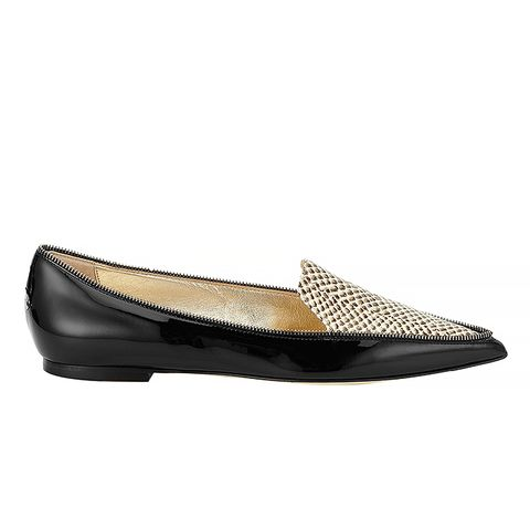Black Patent and Snakeprint Leather Pointy Toe Flats