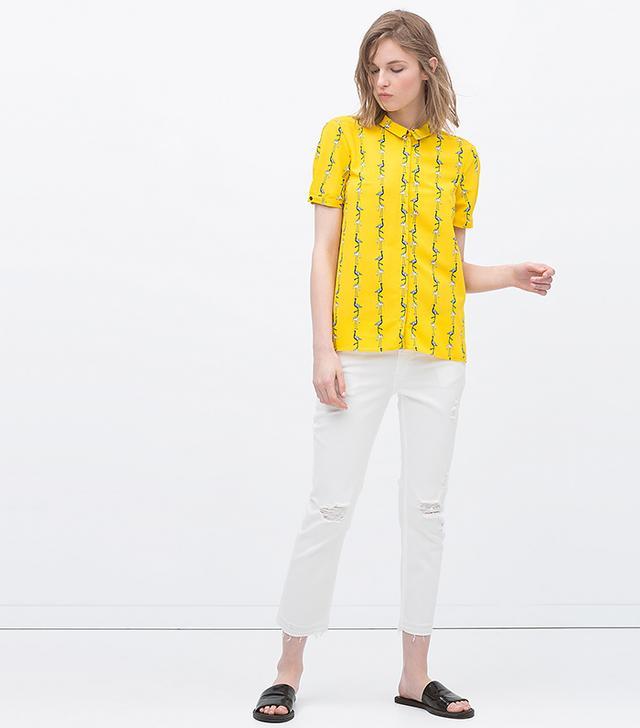 Zara Frayed Hem Cropped Jeans