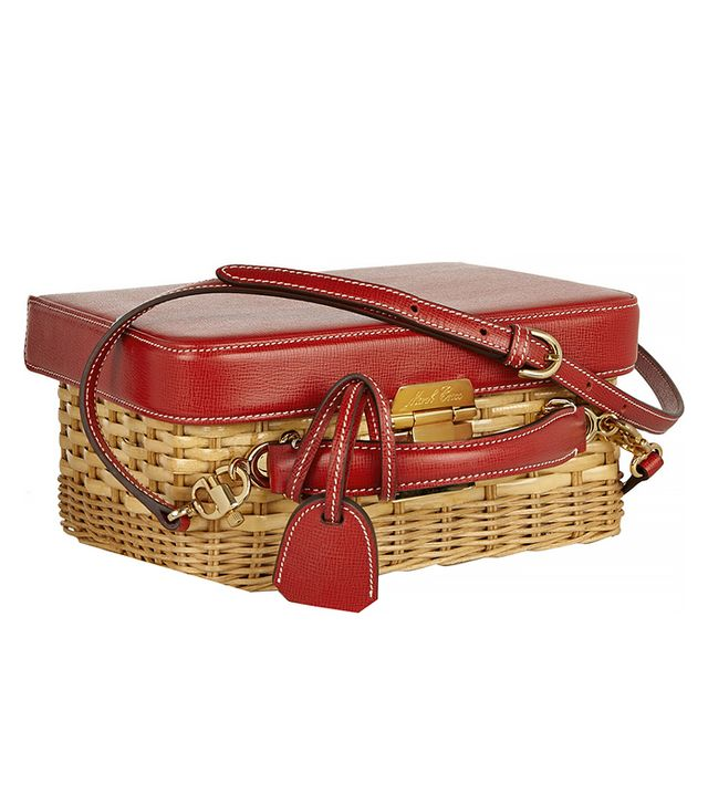 Mark Cross Grace Rattan and Textured-Leather Shoulder Bag