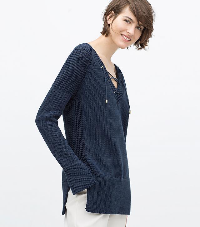 Zara Lace-Up V-Neck Sweater