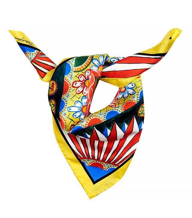 Dolce & Gabbana Folk-Print Silk Scarf