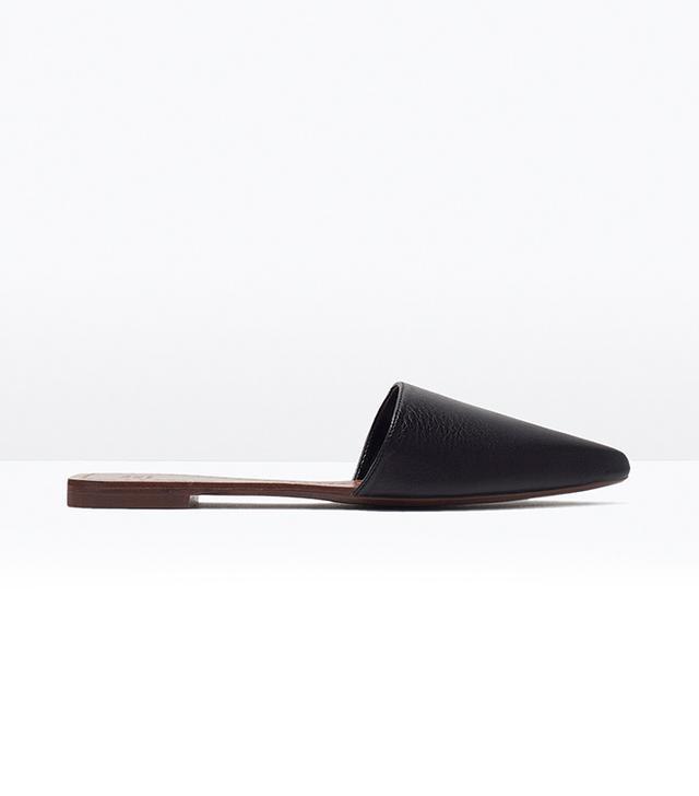 Zara Flat Leather Slippers
