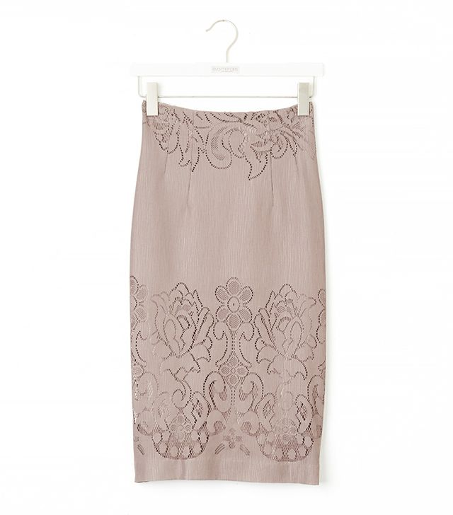 Eva Mendes Collection Kristina Lace Skirt in Soft Taupe