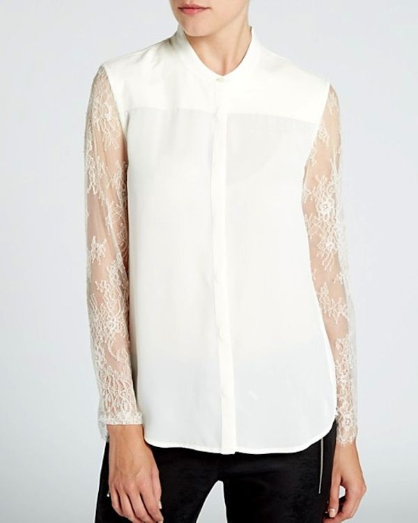 The Kooples Leather Inset & Lace Sleeve Shirt -