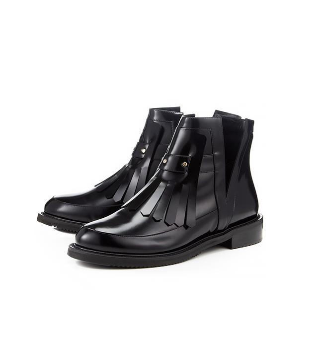 Aperlai Black Leather Fringe Cut-Out Boots