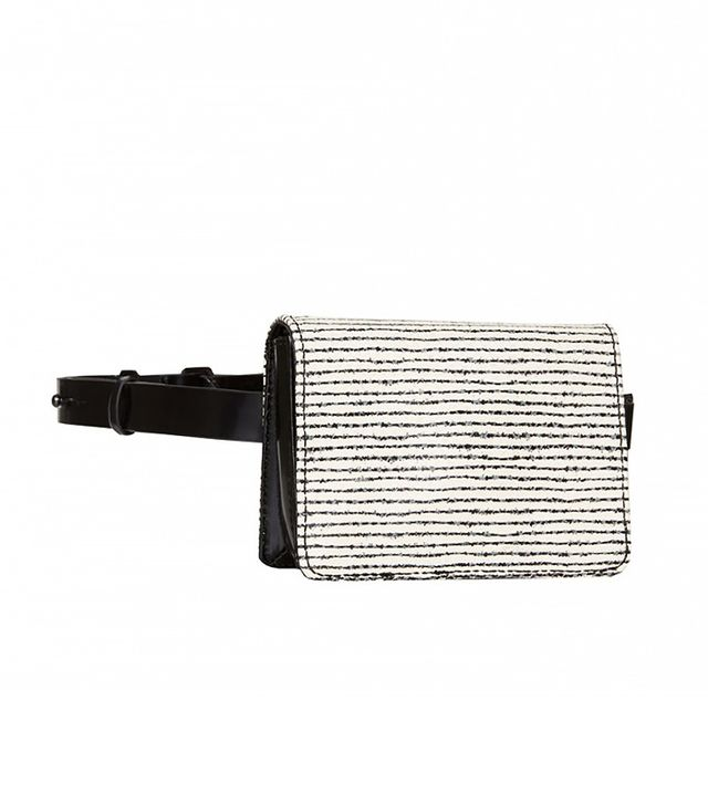 Alice + Olivia Beige Mini Clee Pinstripe Belt Bag