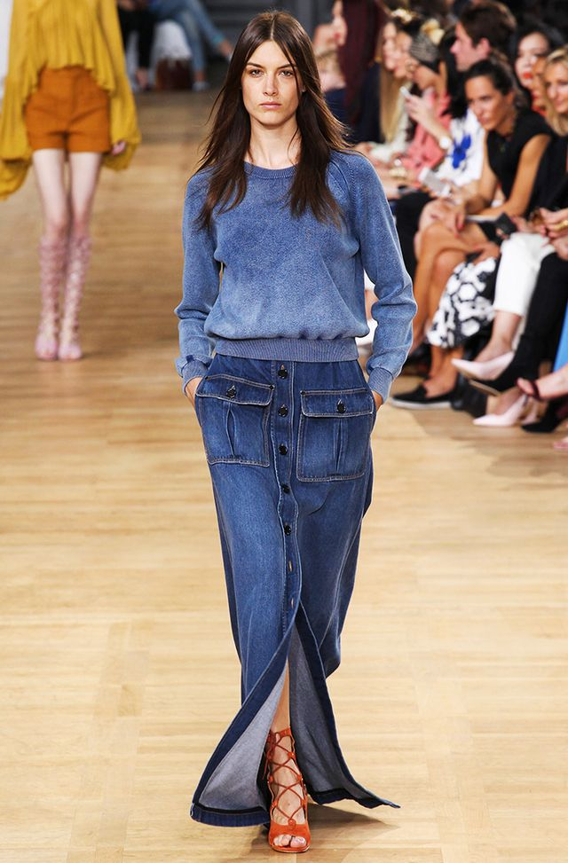 #1: Denim Maxi Skirt