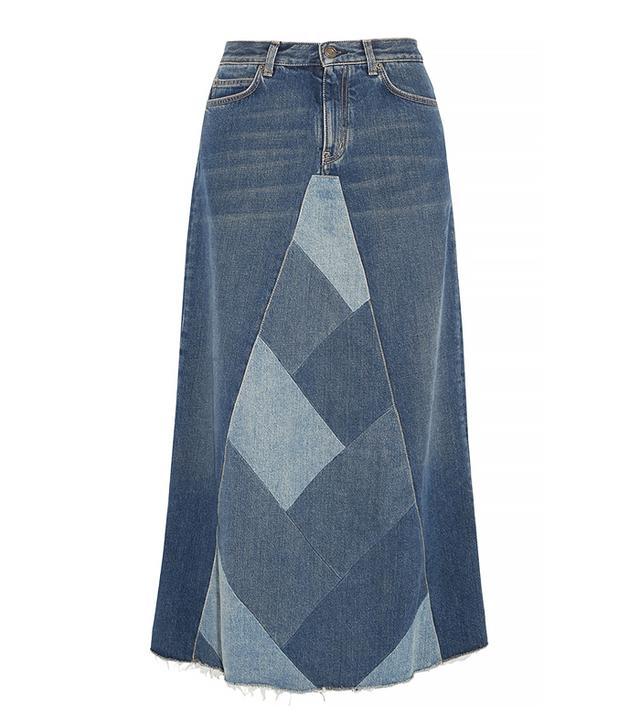Saint Laurent Patchwork Denim Midi Skirt