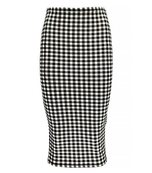 Boohoo Grace Gingham Midi Skirt