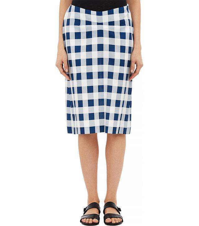 Derek Lam Gingham Basket-Weave Skirt