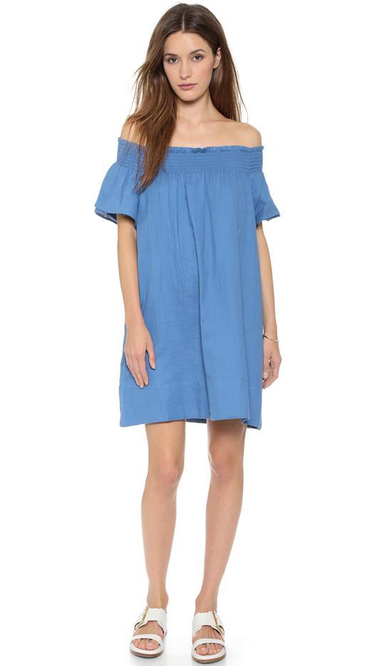 Apiece Apart Crete Smocked Neck Dress