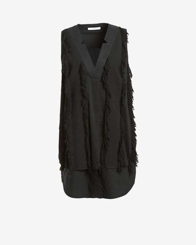 Derek Lam 10 Crosby V-Neck Sleeveless Fringe Dress