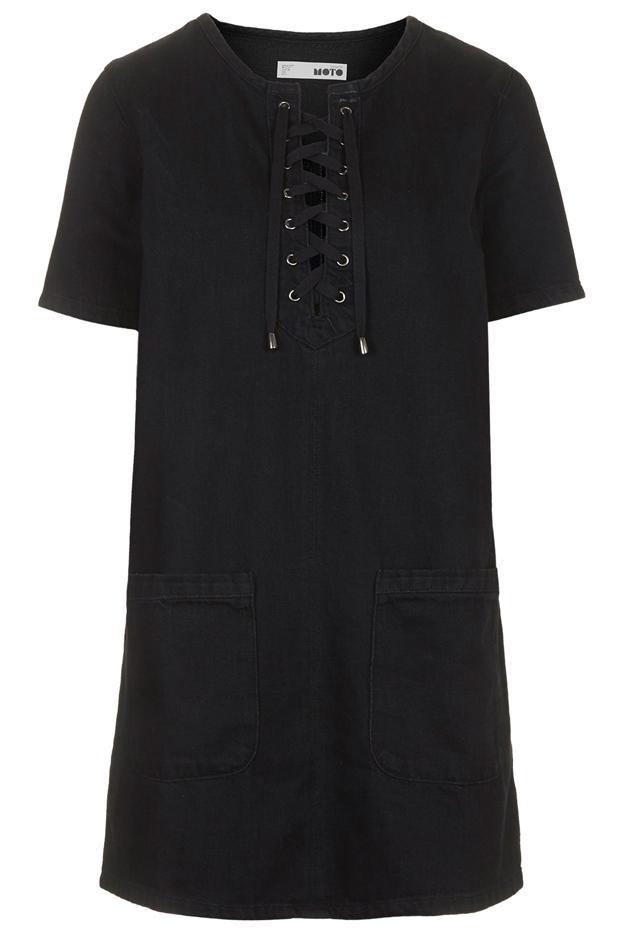 Topshop Moto Black Denim Lace-Up Dress