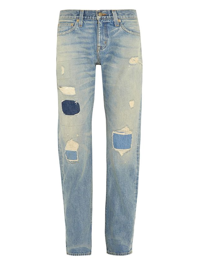 J. CREW + Point Sur Denim X-Rocker Distressed Boyfriend Jeans