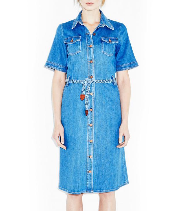 MiH Jeans 70s Denim Dress Braid-Belted Shirt Dress