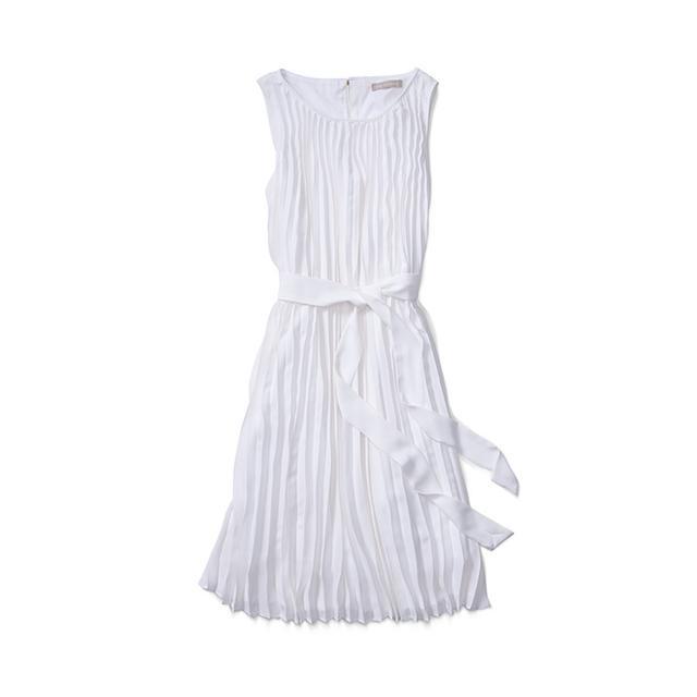 Banana Republic Pleated Tie-Front Trapeze Dress