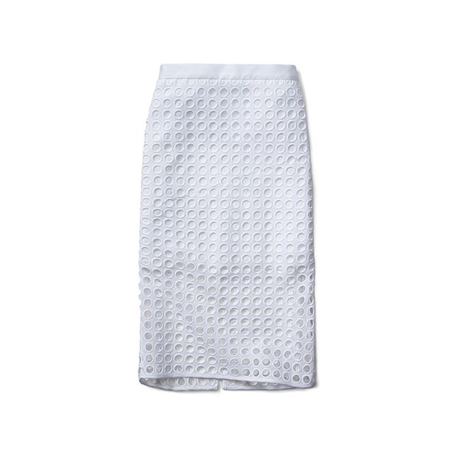 Banana Republic Dot Long Lace Pencil Skirt