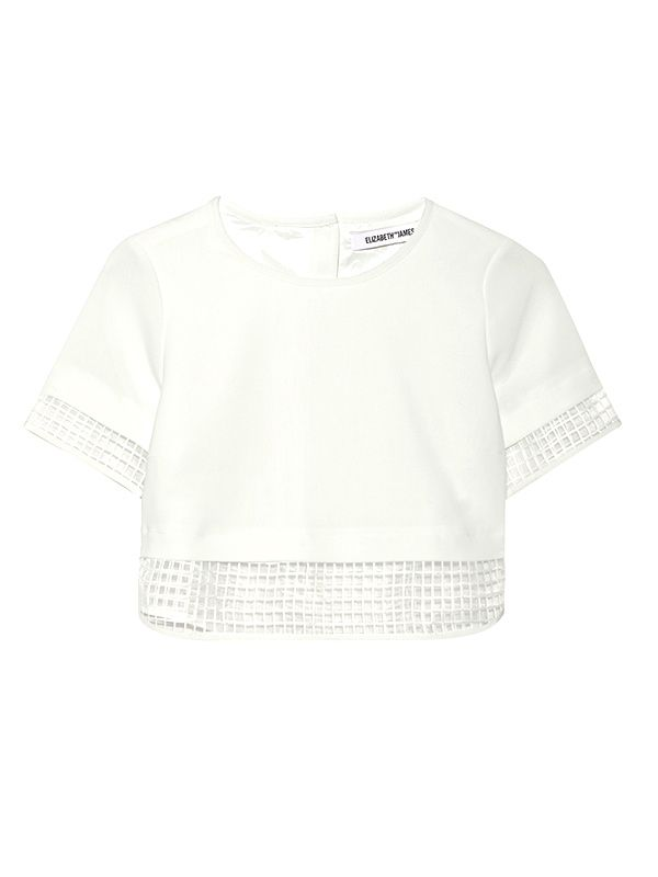 Elizabeth and James Voula Cropped Cady and Organza Top