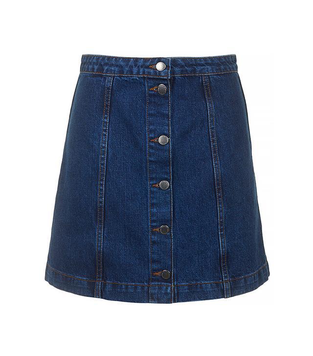 Topshop Moto Button Front A-Line Skirt