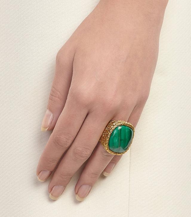 Aurélie Bidermann Malachite Miki Cocktail Ring