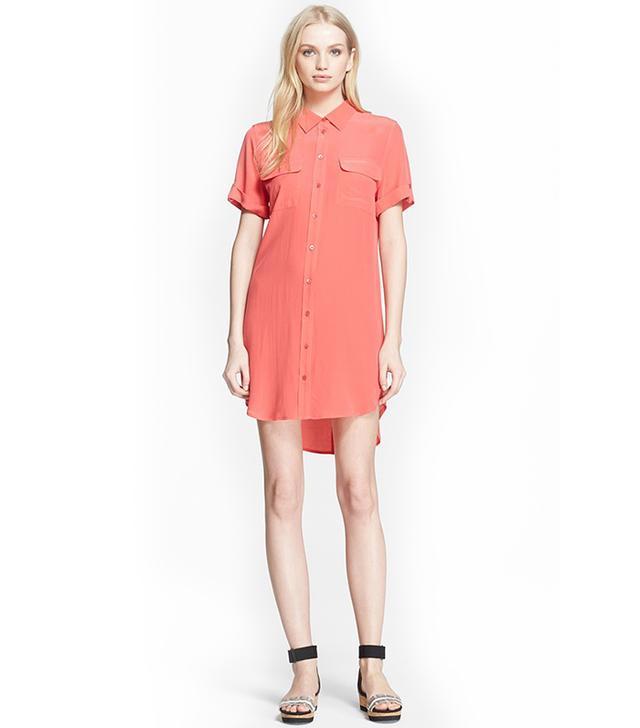 Equipment Slim Signature Silk Shirtdress in Paradise Pink