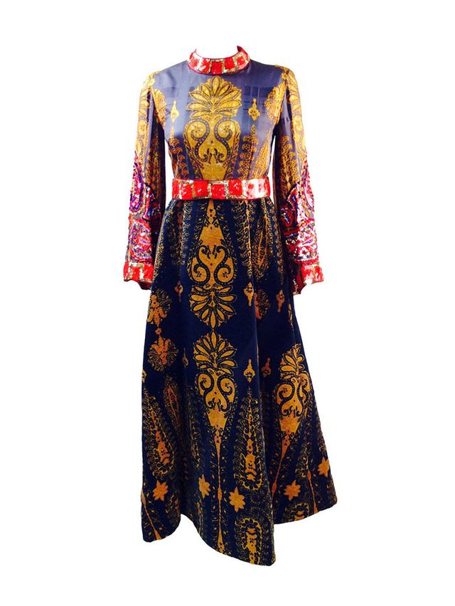 Ronald Amey Embellished Multi Print Gown