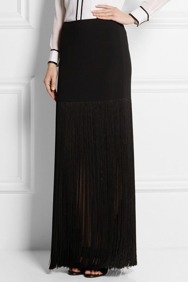 DKNY Fringed Crepe Mini Skirt