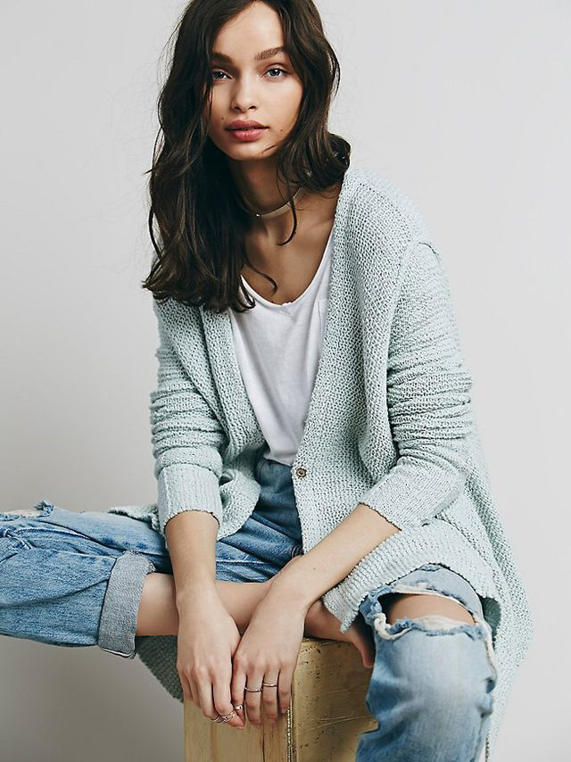 Free People Shark Hem Cotton Cardigan