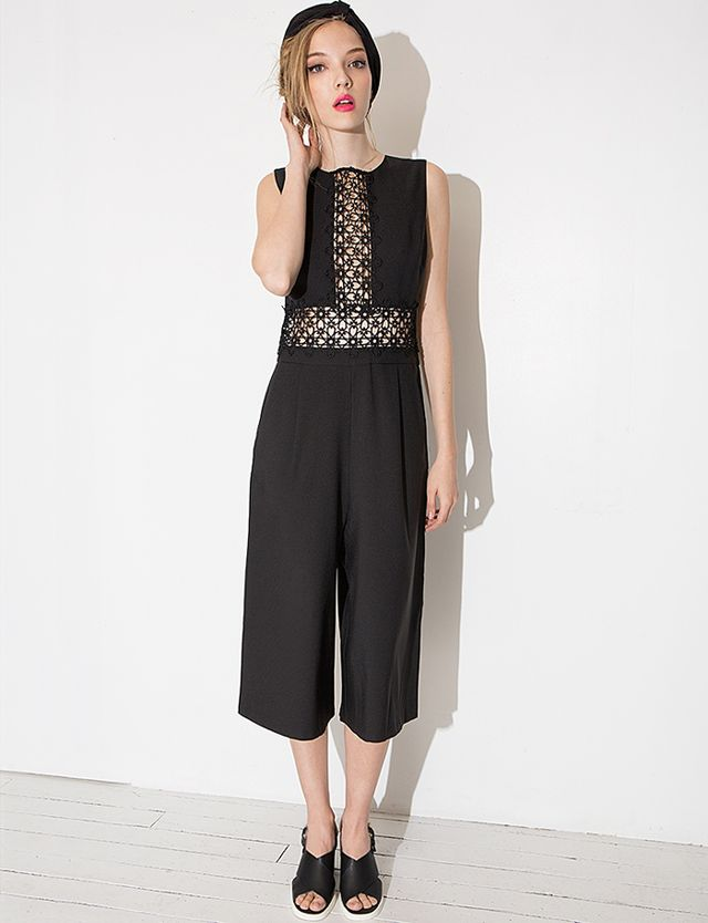 Pixie Market Black Crochet Culotte Jumpsuit