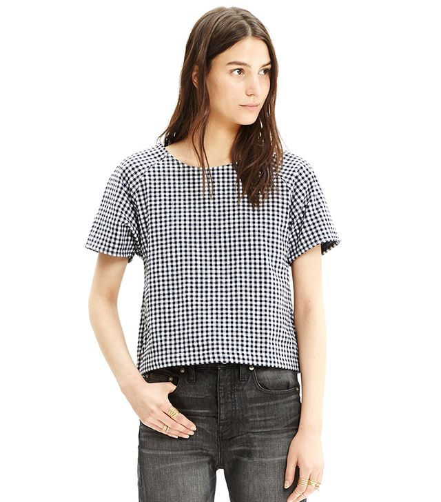 Madewell Raglan Crop Top in Gingham