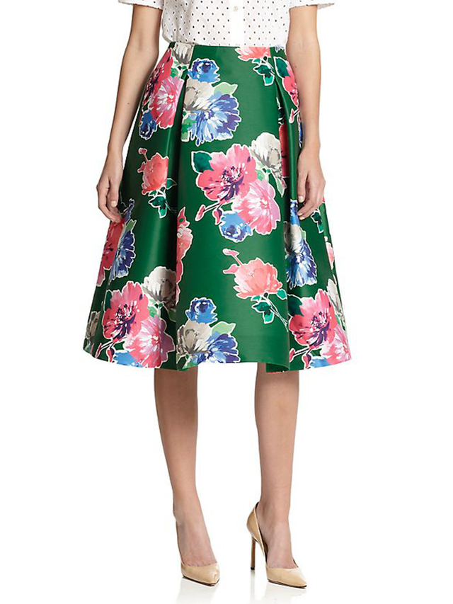kate spade new york Pleated Floral Skirt
