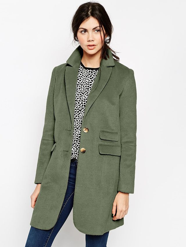 ASOS Coat With Curved Collar And Seam Detail