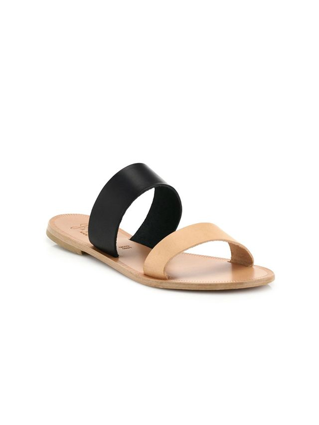 Joie Sable Two-Tone Leather Slide Sandals