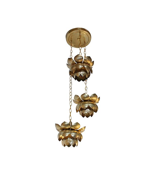 The Feldman Company Three Pendant Light Lotus Brass Chandelier