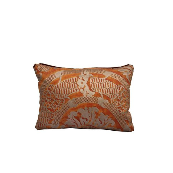 Melissa Levinson Antiques Gold and Coral Fortuny Pillow