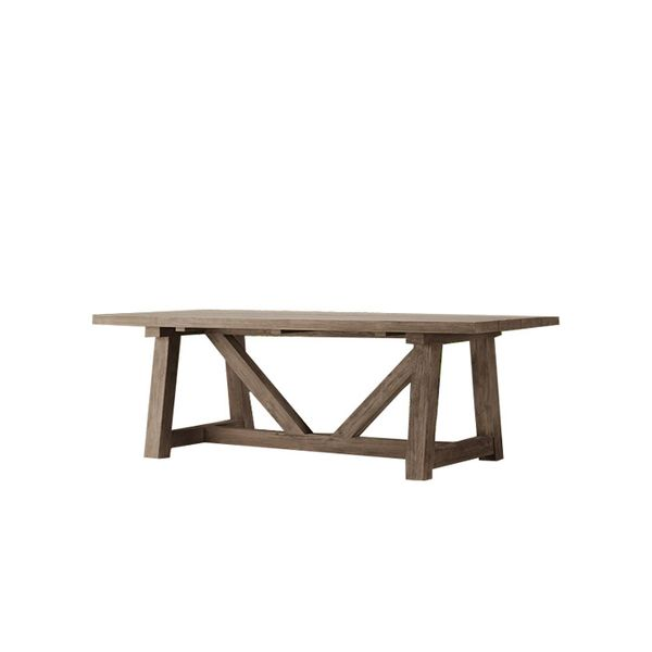 Restoration Hardware French Beam Weathered Teak Rectangular Dining Table