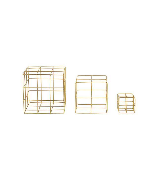 CB2 3-Piece Brass Wire Cube set